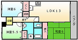 サザンコート堺[203号室]の間取り