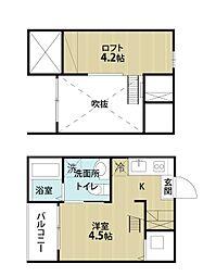 愛知県名古屋市南区道徳新町9の賃貸アパートの間取り