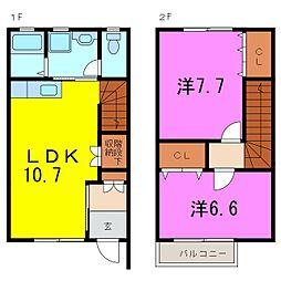 [テラスハウス] 愛知県名古屋市緑区緑花台 の賃貸【愛知県 / 名古屋市緑区】の間取り
