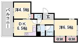 兵庫県神戸市灘区五毛通1丁目の賃貸マンションの間取り