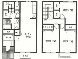 [テラスハウス] 神奈川県厚木市林2丁目 の賃貸【神奈川県 / 厚木市】の間取り