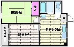 スカイハイツ深江[3階]の間取り