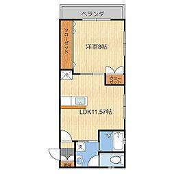 (仮)T様共同住宅(201) 2階1LDKの間取り