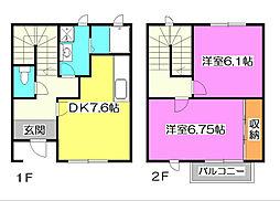 [テラスハウス] 東京都清瀬市竹丘2丁目 の賃貸【/】の間取り