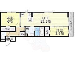 Osaka Metro御堂筋線 なかもず駅 徒歩19分の賃貸アパート 1階2LDKの間取り