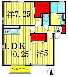 埼玉県三郷市高州2丁目の賃貸アパートの間取り