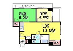 サンハイツ六甲[3F号室]の間取り