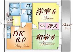 兵庫県神戸市須磨区衣掛町2丁目の賃貸マンションの間取り