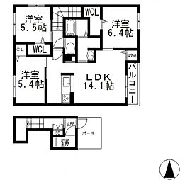 (仮称)東大阪市日下町PJ[202号室号室]の間取り