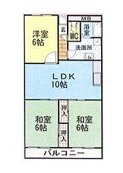 近鉄大阪線 堅下駅 徒歩7分の賃貸マンション 1階3LDKの間取り