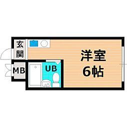 Osaka Metro谷町線 関目高殿駅 徒歩10分の賃貸マンション 2階ワンルームの間取り
