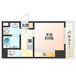 JR大阪環状線 寺田町駅 徒歩10分の賃貸マンション 4階1Kの間取り