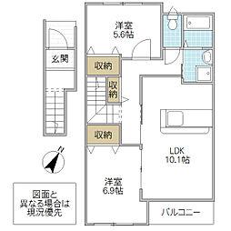 (仮)つくばみらい市板橋新築アパート[202号室号室]の間取り
