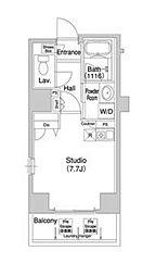 東京メトロ日比谷線 八丁堀駅 徒歩2分の賃貸マンション 8階ワンルームの間取り