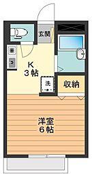 東京都八王子市初沢町の賃貸アパートの間取り