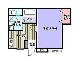 福岡県福岡市中央区港3丁目の賃貸アパートの間取り