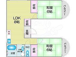 Osaka Metro南港ポートタウン線 平林駅 徒歩5分の賃貸マンション 2階2LDKの間取り