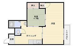 大阪府大阪市平野区喜連東4丁目の賃貸マンションの間取り