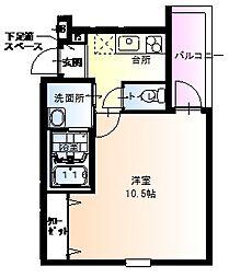 フジパレス武庫川3番館 1階1Kの間取り