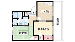 愛知県尾張旭市北本地ヶ原町3丁目の賃貸アパートの間取り
