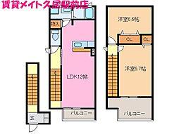 三重県津市美川町の賃貸アパートの間取り