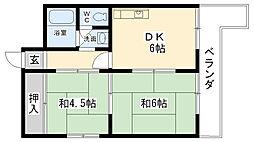 兵庫県西宮市小松南町1丁目の賃貸マンションの間取り