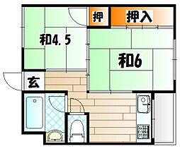 福岡県北九州市若松区本町2丁目の賃貸マンションの間取り