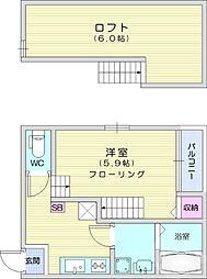 JR東北本線 南仙台駅 徒歩11分の賃貸アパート 2階1Kの間取り
