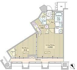 都営大江戸線 汐留駅 徒歩3分の賃貸マンション 21階1LDKの間取り