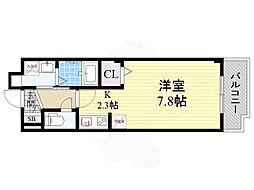 JR片町線(学研都市線) 津田駅 徒歩6分の賃貸マンション 3階ワンルームの間取り
