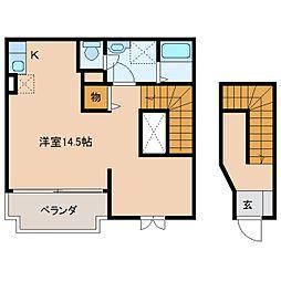 奈良県橿原市十市町の賃貸アパートの間取り
