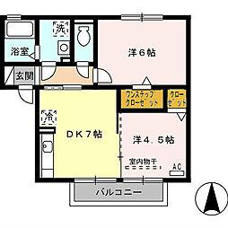 グランモアKB棟・オール電化[2階]の間取り