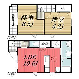 京成本線 京成成田駅 バス40分 桜田坂上下車 徒歩3分の賃貸タウンハウス 1階2LDKの間取り