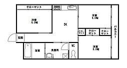 チュリス福岡[4階]の間取り
