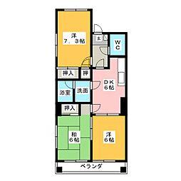 愛知県名古屋市千種区松竹町1丁目の賃貸マンションの間取り