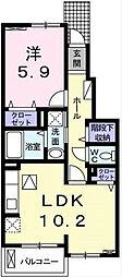 ドミールボナミ[1階]の間取り