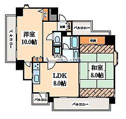 ノバカネイチ真田山2番館[8階]の間取り