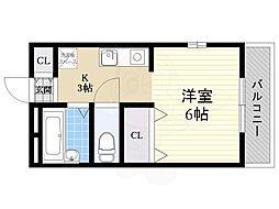 メゾンTOKI 1階ワンルームの間取り
