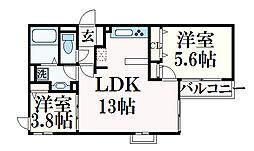 ジェイズガーデン 2階2LDKの間取り