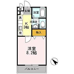神奈川県川崎市中原区下小田中2丁目の賃貸アパートの間取り