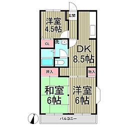 神奈川県鎌倉市小袋谷2丁目の賃貸マンションの間取り