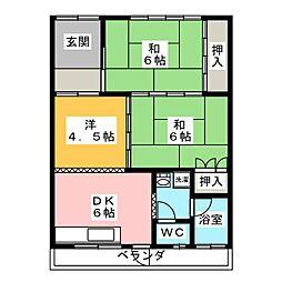河合コーポ[2階]の間取り