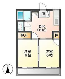 大恵第2マンション[2階]の間取り