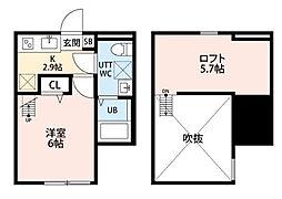 クレスト平塚[102号室]の間取り
