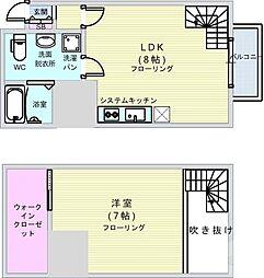 南海高野線 今宮戎駅 徒歩2分の賃貸マンション 6階1LDKの間取り