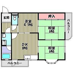 富美ヶ丘マンション[3階]の間取り
