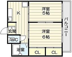 ハイツ三喜屋[3階]の間取り