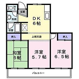東京都福生市北田園2丁目の賃貸マンションの間取り