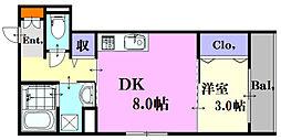 広島電鉄6系統 舟入川口町駅 徒歩4分の賃貸アパート 3階1DKの間取り