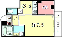 ソレイユ清元 2階1Kの間取り
